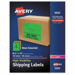 Avery Neon Shipping Label Laser 8 1 2 X 11 Neon Assorted 100 box Ave5935