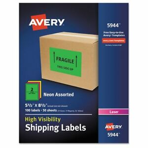 Avery Neon Shipping Label Laser 5 1 2 X 8 1 2 Neon Assorted 100 box Av