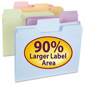 Smead Supertab File Folders 1 3 Cut Top Tab Letter Assorted Colors 100 b