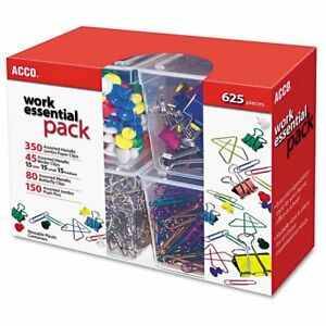 Acco Club Clip Pack 80 Ideal 45 Binder 350 Jumbo Paper Clips 150 Push Pi