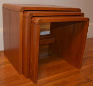 Vintage Mid Century Modern Danish Mobler Teak Nesting End Side Tables Set Of 3