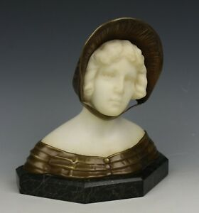 Schumacher Austria C1900 Art Nouveau Bronze Marble Bust Of Girl Worldwide