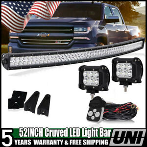 52inch Curved Led Light Bar Led Fog Driving Lamp For 07 13 Gmc Chevy Silverado