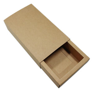 Brown Kraft Paper Drawer Box Handmade Gift Craft Boxes Jewelry Packaging Pouches
