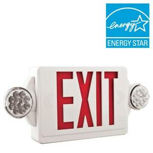 2 light Plastic Led White Exit Sign emergency Combo With Led Heads And Red