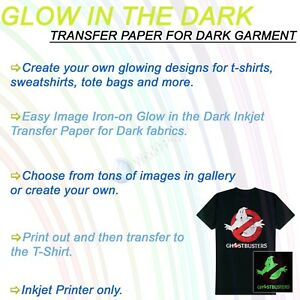Printable Glow In The Dark Heat Transfer Paper For Inkjet Dark Tshirt 100sh