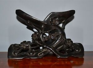 Antique Chinese Carved Wood Stand Prunus Branches For Mop Shell Carving Etc