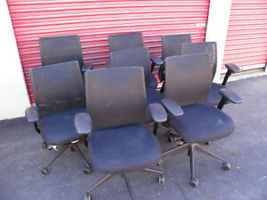 Lot Of 7 Steelcase Jersey Task Office Chairs Black charcoal Mesh Indigo Seats