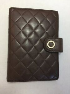 Vintage Talbots Planner Brown Quilted Leather Personal Organizer Compact Agenda