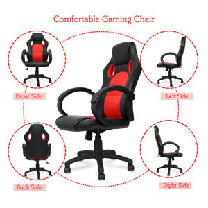 High Back Pu Leather Office Gaming Chair Swivel Ergonomic Computer Desk Seat New