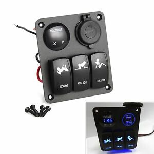 New 3 Gang Waterproof Car Circuit Led Rocker Switch Panel Breaker 2 Usb Socket