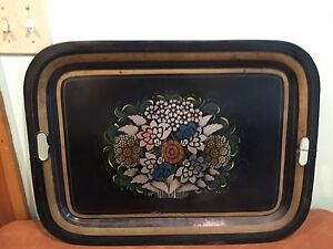 Antique Metal Tin Tole Painted Serving Tray With Flowers
