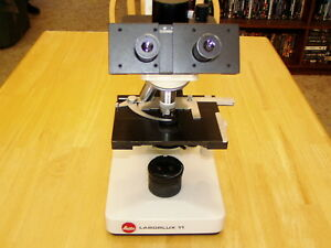 Leitz Wetzlar Laborlux 11 Trinocular Microscope With Objectives