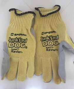 Sperian Men s Junk Yard Dog Kevlar Gloves Leather Palm Yellow