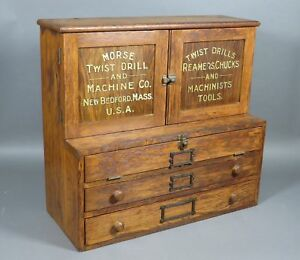 Antique Morse Twist Drill Machine Co Wood Tool Hardware Store Display Cabinet