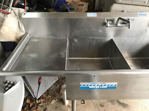 Stainless Steel Commercial 3 Basin Sink With Faucets A Beauty