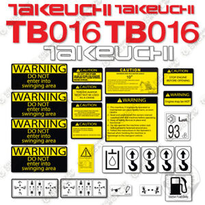 Takeuchi Tb 016 Mini Excavator Decals Equipment Decals Tb016 Tb 016 Tb16 Tb 16