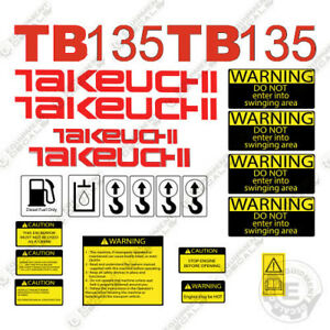 Takeuchi Tb 135 Mini Excavator Decals Equipment Decals Tb135 Tb 135 Tb135