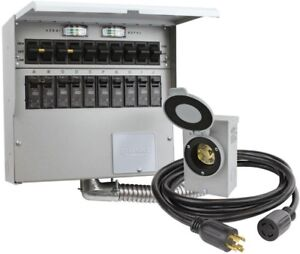 Manual Transfer Switch Kit 10 circuit 30 Amp 8000 Watt 10 foot Generator Cord
