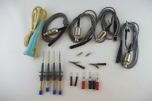 Vintage Lot Of Oscilloscope Test Probes Tips And Cables Tektronix Or Hp