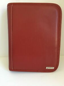 Franklin Covey Planner Organizer 7 Ring Binder Full Zip Deep Red Leather 8x10