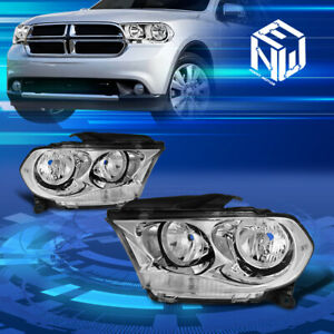 For 11 13 Dodge Durango Pair Chrome Housing Clear Side Headlight lamp Left right