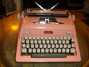 Antique 1960s Bubble Gum Pink Royal Manual Portable Typewriter W Carry Case