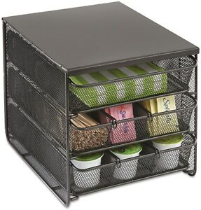 3 Drawer Hospitality Organizer Break Room Supplies Coffee Condiments Station Blk