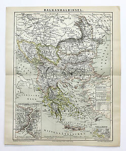 1883 Balkans Map Turkey Greece Bulgaria Serbia Original German Brockhaus