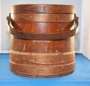 Antique Primitive Wooden Firkin Sewing Bucket With Lid And Shelf 10 X 10