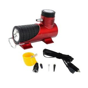 Dc12v Mini Car Electric Compact Compressor Pump Bike Tyre Air Inflator Red