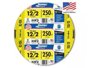 New Southwire Romex 250 12 2 Wg Non metallic Cable Copper Electrical Wire 12 2