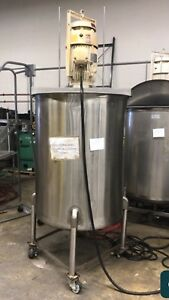 Used 200 Gallon Stainless Steel Mix Tank W 20 Hp Arde Barinco Mixer