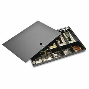 Sparco Money Tray With Locking Cover 16 X 11 X 2 1 4 Inches Black spr15505