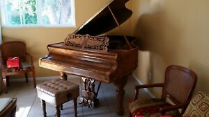 Antique Beautiful Baby Grand Piano Kranich And Bach W Bench