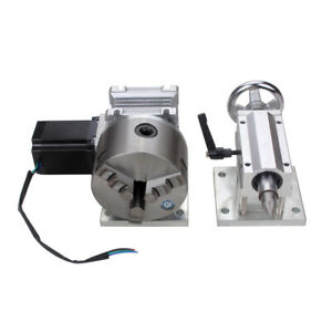 Router Rotary A 4th Axis Gearbox 3jaw 100mm Chuck Cnc Engraving Manual Tailstock