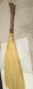 Vtg Hand Made Woven Hearth Broom Straw Twig Stick Wood Handle Fireplace
