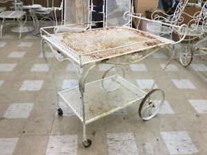 Salterini Mid Century Modern Wrought Iron Patio Bar Cart Heavy