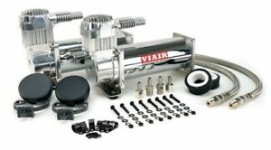 Viair 444c Dual Pack Chrome Air Ride Bag Suspension Compressor Pump Train 44432