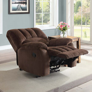 Recliner Rocking Chair Small Sleeper Sofa Upholstery Fabric Reclining Soft Brown