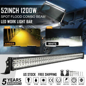 52 Inch 1200w Curved Led Light Bar Combo Dual Color Lamps Fit For Ford Jeep 50