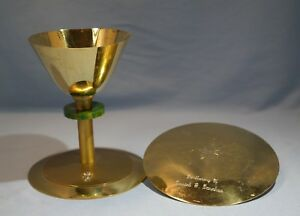 Sterling Gilt Silver Metal Church Chalice Plate Green Hardstone D Cor