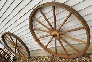 2 Original Matching Pairs Wood Wooden Wagon Wheels 46 Buggy Carriage Sleigh Jd