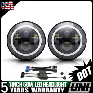 For Hummer H1 H2 H3 H3t 7 Inch Led Round Headlight Halo Headlamp Drl Hi Lo 2pcs