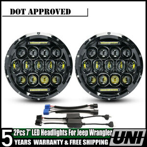 For Jeep Wrangler Jk Tj Cj5 7 2pcs 7 Led Halo Angel Eyes Headlight 60w Headlamp