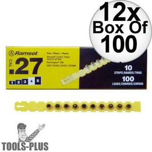 Ramset 4rs27 Box Of 100 4 yellow 27 Cal Strip Loads 12x New