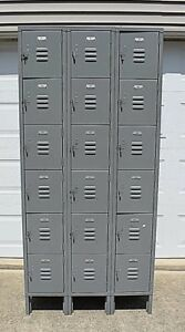 Penco Vintage Employee Lockers 18 Units Storage Garage Industrial Metal