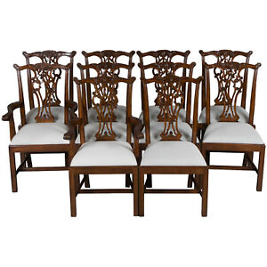 New Antique Style Set Of Ten Carved Mahogany Dining Room Chairs Chippendale Fs