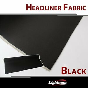 120 x60 Black Suede Headliner Fabric Upholstery Auto Foam Backed Replace Sag