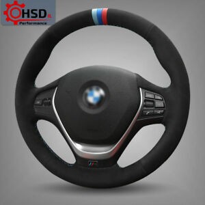 Hand stitched Suede Black Steering Wheel Cover For Bmw F30 320i 328i 320d F20